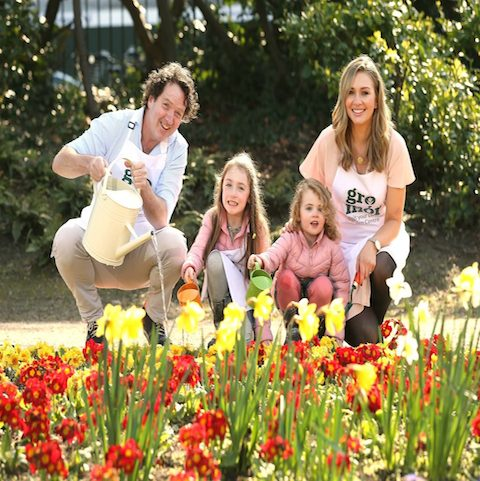 No Repro Fee. GroMór 2017 launch Award winning garden designer Diarmuid Gavin and TV presenter and mother of three Anna Daly pictured with little helpers Blair Doyle (6) and Bébhinn Doyle (4) at the launch of GroMór 2017, a nationwide campaign in association with Bord Bia to give clear and useful advice on how to best grow plants, herbs, flowers, fruits, vegetables and to highlight the health benefits of gardening.  See www.gromor.ie for tips and advice on getting started.  A series of 50 free gardening demonstrations will take place in throughout the nation in GroMor Garden Centres from April to September offering a whole variety of themes. Pic. Robbie Reynolds