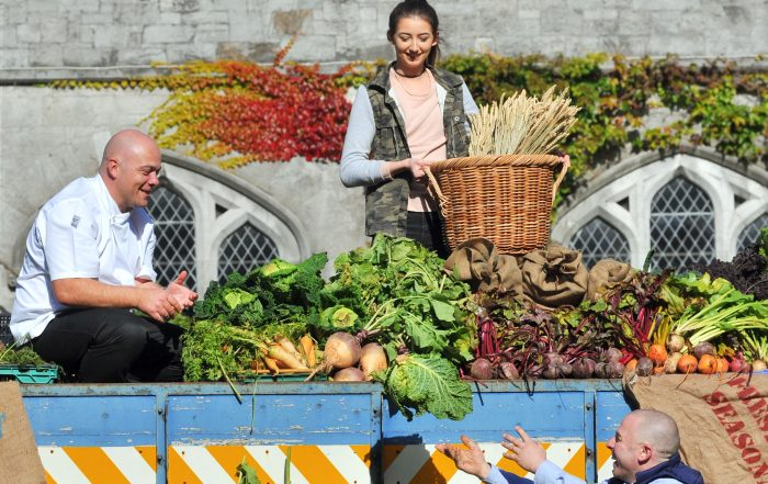 Pictured were local farmer Trevor Martin, KSG chef Cillian Doherty and student UCC student Sarah Farrell from Wexford.