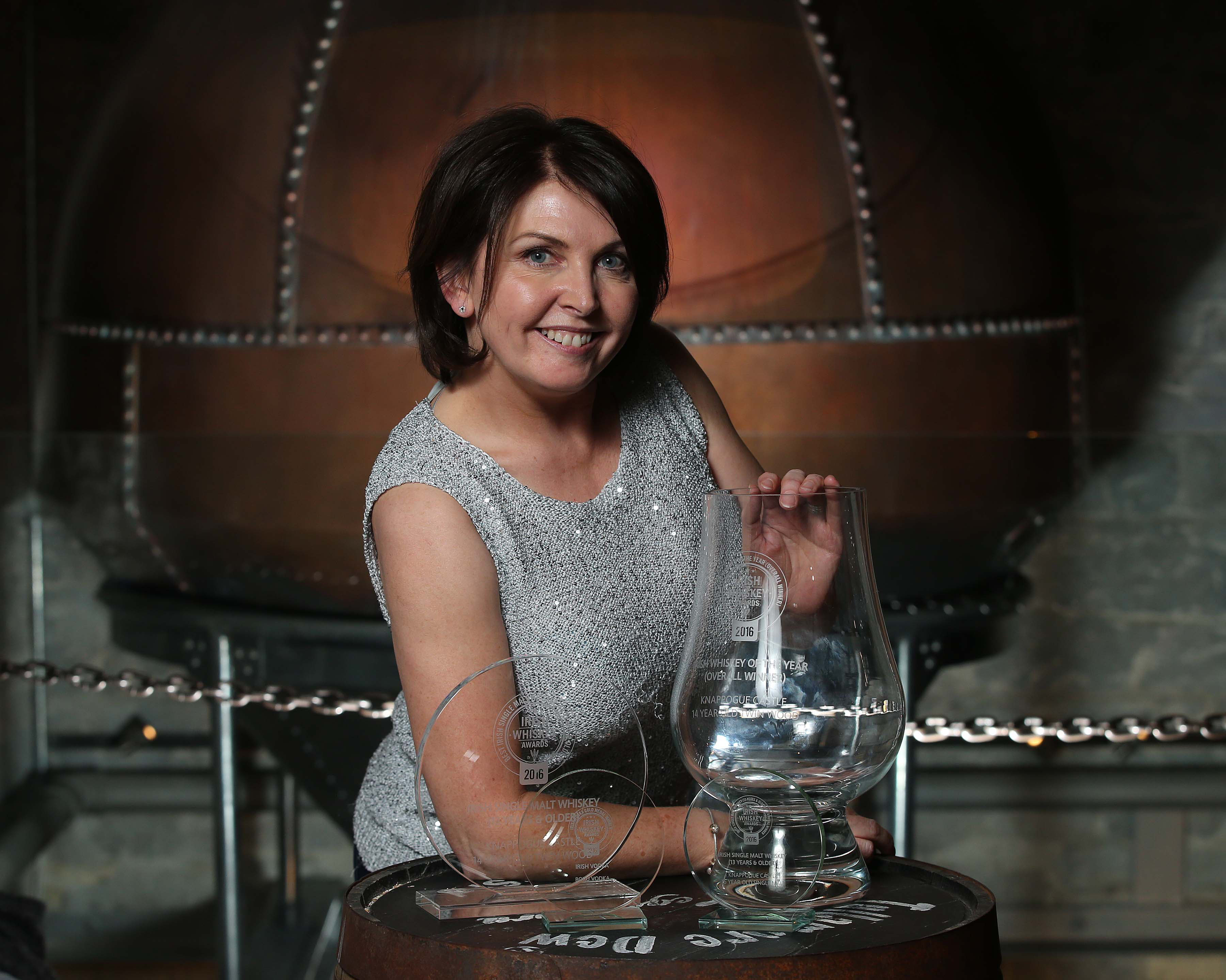 Pictured at the Irish Whiskey Awards 2016 which took place in the Tullamore Distillery Visitor Centre recently (20th October 2016) was Marianne Courtney of Castle Brands who collected the awards for the Irish Whiskey of the Year 2016 for Knappogue Castle 14 Year Old Twin Wood, which also won the best in the Irish Single Malts (13 years and older) and Gold medals for Knappogue Castle 16 Year old Single Malt and Boru Vodka.  For further information please contact O'Leary PR 01-6789888