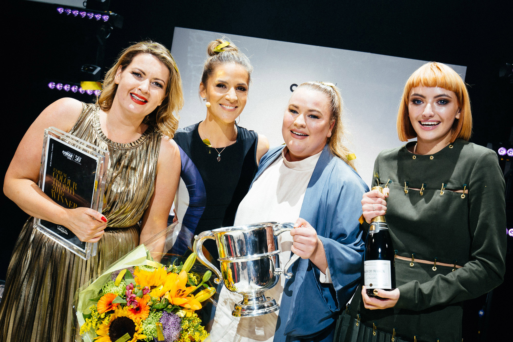 Pictured at the L'Oreal Colour Trophy Awards 2016 which took place in the Convention Centre Dublin recently (June 20th 2016) were the winners of the L'Oreal Colour Trophy 2016 Award Aoife Bradley and Jenny Dawson of Dylan Bradshaw Academy, Dublin with presenter Amanda Byram and model Alessandra Costello