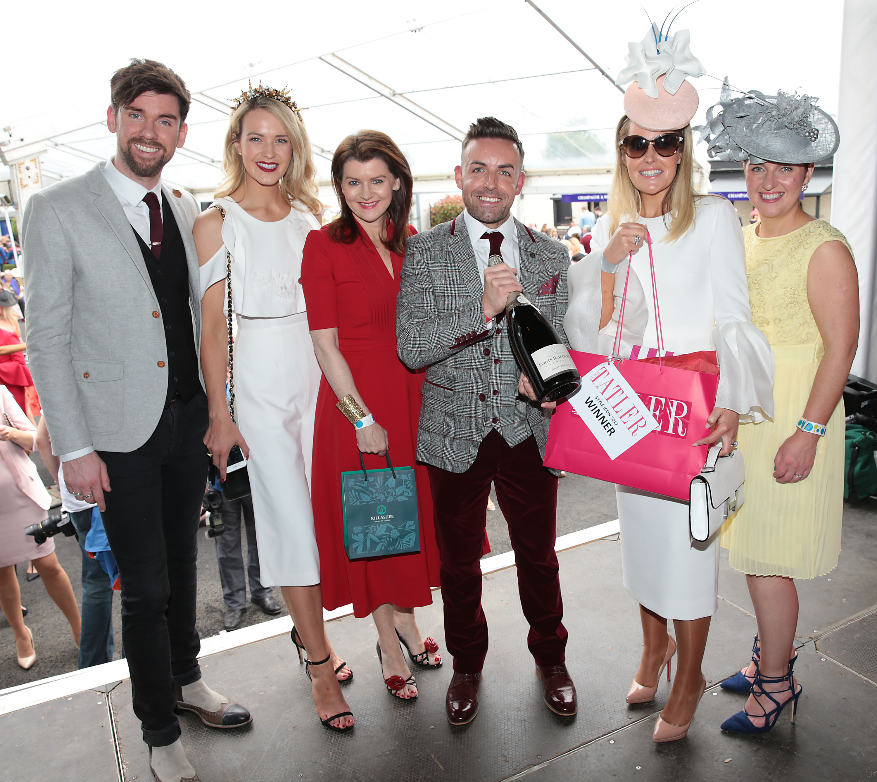 Eoghan McDermott -Judge , Aoibhin Garrihy -Judge , Ciara McElligott -Killashee Hotel,Stuart Montgomery and Jane Mulrooney -  Style Icon 2017  Winners  and Shauna O Halloran -Editor of Irish Tatler at the Killashee Irish Tatler Style Icon competition at The 1000 Guineas at the Curragh Racecourse in Kildare Picture Brian McEvoy No repro fee