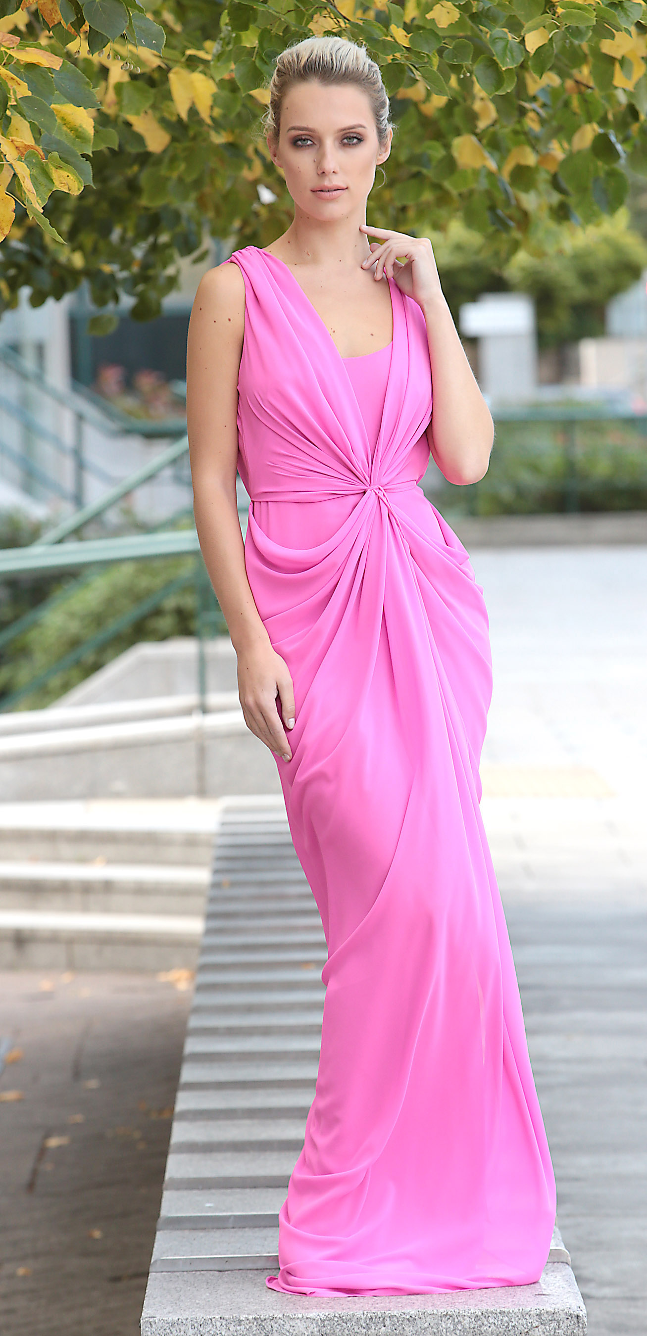 Model  Grace O'Mahony wearing a Umit Kutluk Pink chiffon draped full length dress €1,245 at the launch of Irish Fashion Collective, hosted by Conrad Dublin, which will take place on Friday 13th October 2017  Picture Brian McEvoy No repro fee for one use . Top international designer Don O'Neill will join Deborah Veale  and other leading Irish designers including Louise Kennedy, Umit Kutluk, Helen Steele as they showcase their Autumn Winter 2017 Collections in aid of St Joseph's Shankill.  All funds raised will go to supporting Saint Joseph's Shankill's vision of creating Ireland's first Dementia village. Tickets priced €100 are available from www.saintjosephsshankill.ie or by calling 01 271 9204.