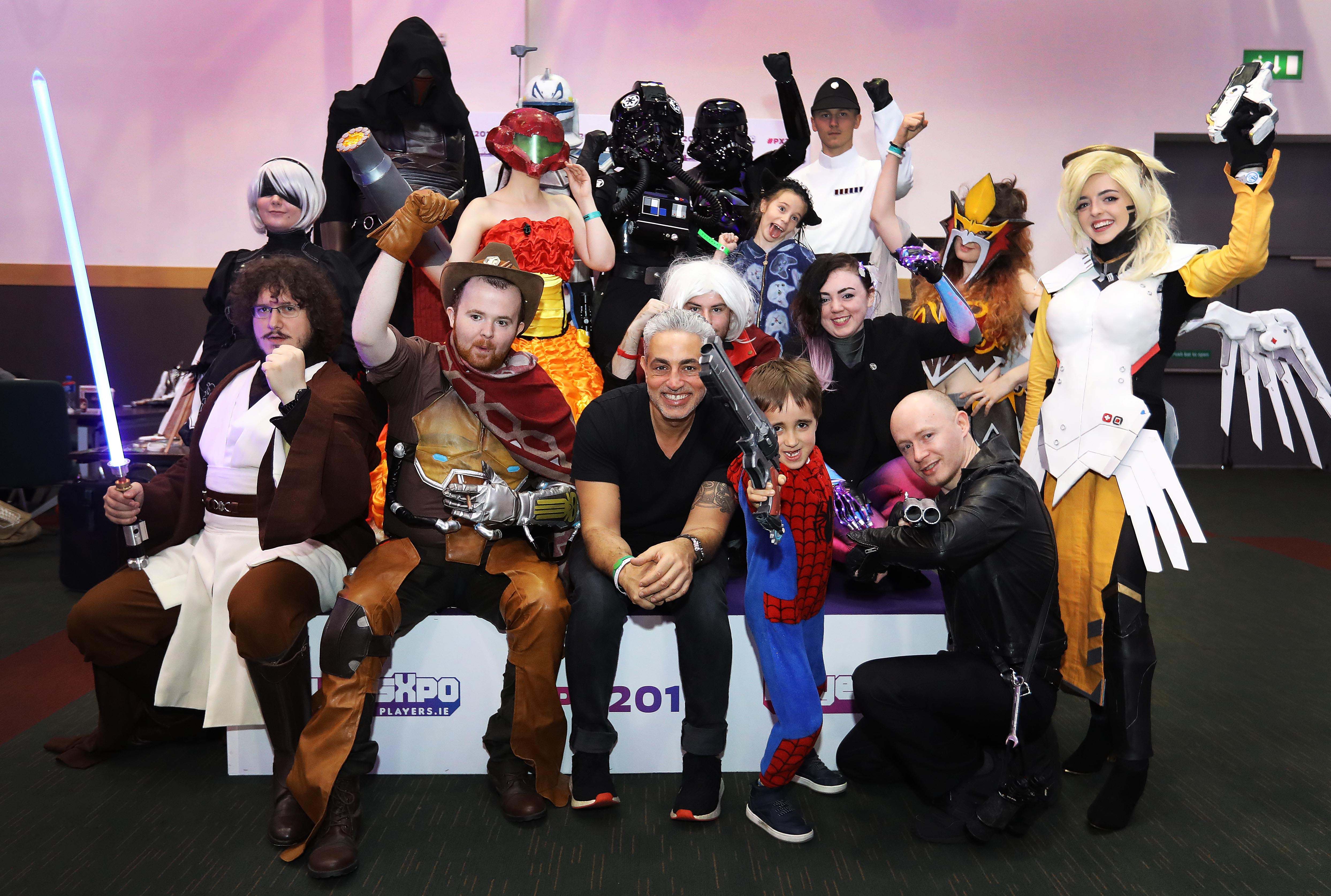 Baz Ashmawy pictured with competitors in the Cosplay competition at PlayersXpo, Ireland's Ultimate Gaming event in The Convention Centre in Dublin over the weekend. With a show-stopping line-up of top International acts and gaming industry legends, fans from all over the country flocked to meet their heroes and get hands-on with some of this year's most anticipated video games!