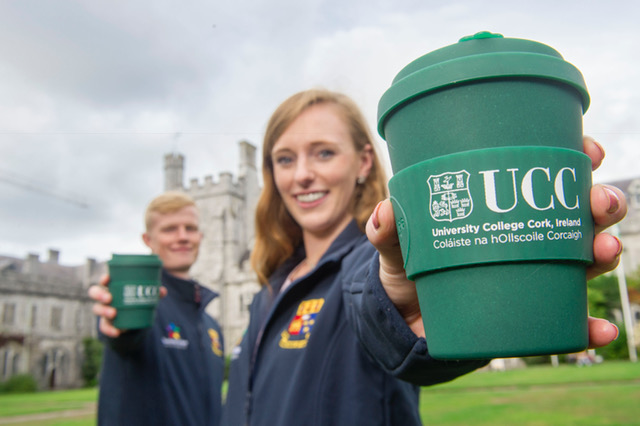 REPRO FREE Pictured at the announcement in UCC, Cork were Alan Hayes, Alan Hayes, Student Union President, UCC and Faye Mercy, Comms Student Union, UCC. KSG Catering partnering with UCC on sustainability leadership launched Ireland's first plastic free café. Located on the UCC campus in the Biosciences Institute the 'Bio Green Café' was refurbished in August and opened as Ireland's first plastic free café on Tuesday September 11th. KSG in collaboration with UCC has installed and implemented a number of innovative sustainability practices for the café operation as part of this pilot project. In light of the numerous environmental issues associated with single use plastic the goal of the project is to totally eliminate all variants of single use plastic in a UCC campus café. KSG has partnered with the UCC Green Campus Committee and jointly a number of initiatives have been launched in the cafe.  Pic Daragh Mc Sweeney/Provision