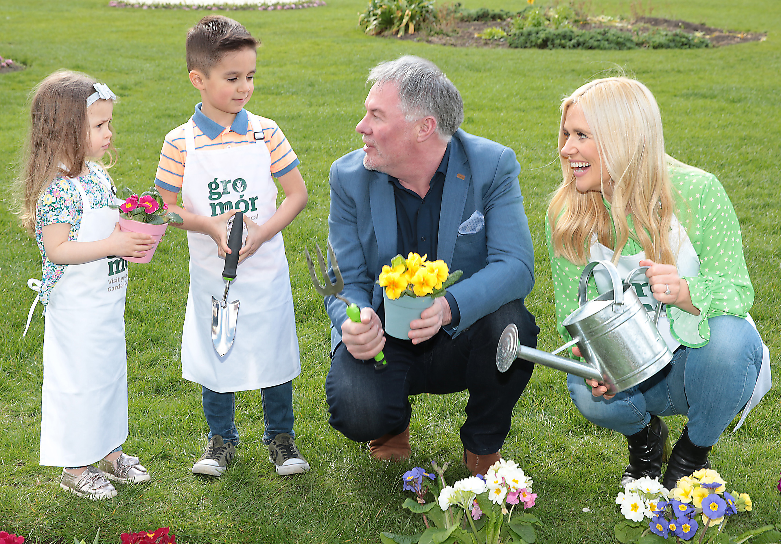 Amy Dempsey aged 4  and Gianluca Bux aged 5 with Super Garden judge and the face of Bloom Festival, Gary Graham and Karen Koster  as they celebrated the arrival of spring and the launch of GroMór 2019 - encouraging everyone to visit their local garden centres and nurseries, buy Irish plants and get growing!        Pic Brian McEvoy No Repro fee for one use               GroMór is an initiative by Bord Bia in association with Retail Excellence Ireland, promoting its 62 local garden centres and nurseries located across the country. These centres have an extensive selection of plants along with qualified staff, who are available to offer free expert advice to people in all age groups from novices and new homeowners to experienced gardeners.    Discover your green fingers simply grab a trowel and uncover the beauty and mystery of the garden.  GroMór 2019 has two key themes that will focus on the seasonal plants with 'Garden Colour' across April and May and then 'Container Garden' from June onwards. April is the month when spring really starts to arrive and with the advice of GroMór ambassador Gary Graham, comes the opportunity to create your own super garden this summer!  For anyone looking for advice or easy to follow guides and videos on how to grow flowers, plants, herbs, trees and vegetables or to find your local garden centre or nursery visit, www.GroMór.ie . GroMór 2019 is sponsored by Bord na Móna and Westland Horticulture. www.GroMór.ie