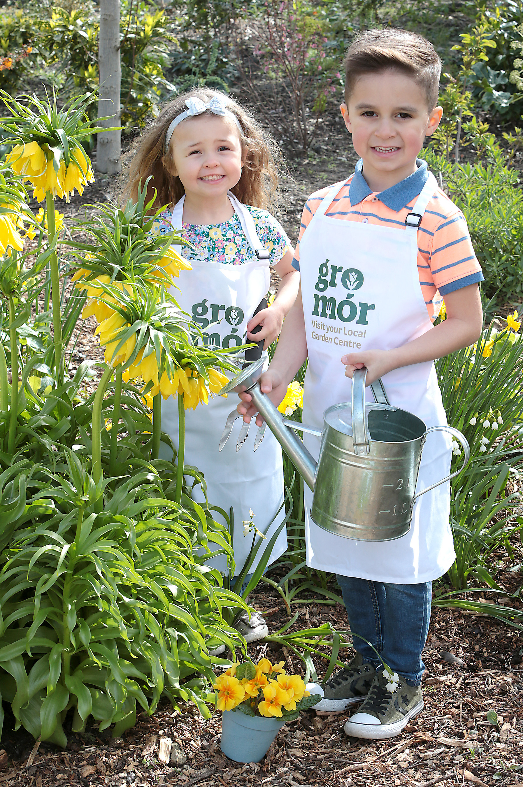 Amy Dempsey aged 4  and Gianluca Bux aged 5 as they celebrated the arrival of spring and the launch of GroMór 2019 - encouraging everyone to visit their local garden centres and nurseries, buy Irish plants and get growing!        Pic Brian McEvoy No Repro fee for one use              GroMór is an initiative by Bord Bia in association with Retail Excellence Ireland, promoting its 62 local garden centres and nurseries located across the country. These centres have an extensive selection of plants along with qualified staff, who are available to offer free expert advice to people in all age groups from novices and new homeowners to experienced gardeners.   Discover your green fingers simply grab a trowel and uncover the beauty and mystery of the garden.  GroMór 2019 has two key themes that will focus on the seasonal plants with 'Garden Colour' across April and May and then 'Container Garden' from June onwards. April is the month when spring really starts to arrive and with the advice of GroMór ambassador Gary Graham, comes the opportunity to create your own super garden this summer! For anyone looking for advice or easy to follow guides and videos on how to grow flowers, plants, herbs, trees and vegetables or to find your local garden centre or nursery visit, www.GroMór.ie . GroMór 2019 is sponsored by Bord na Móna and Westland Horticulture. www.GroMór.ie