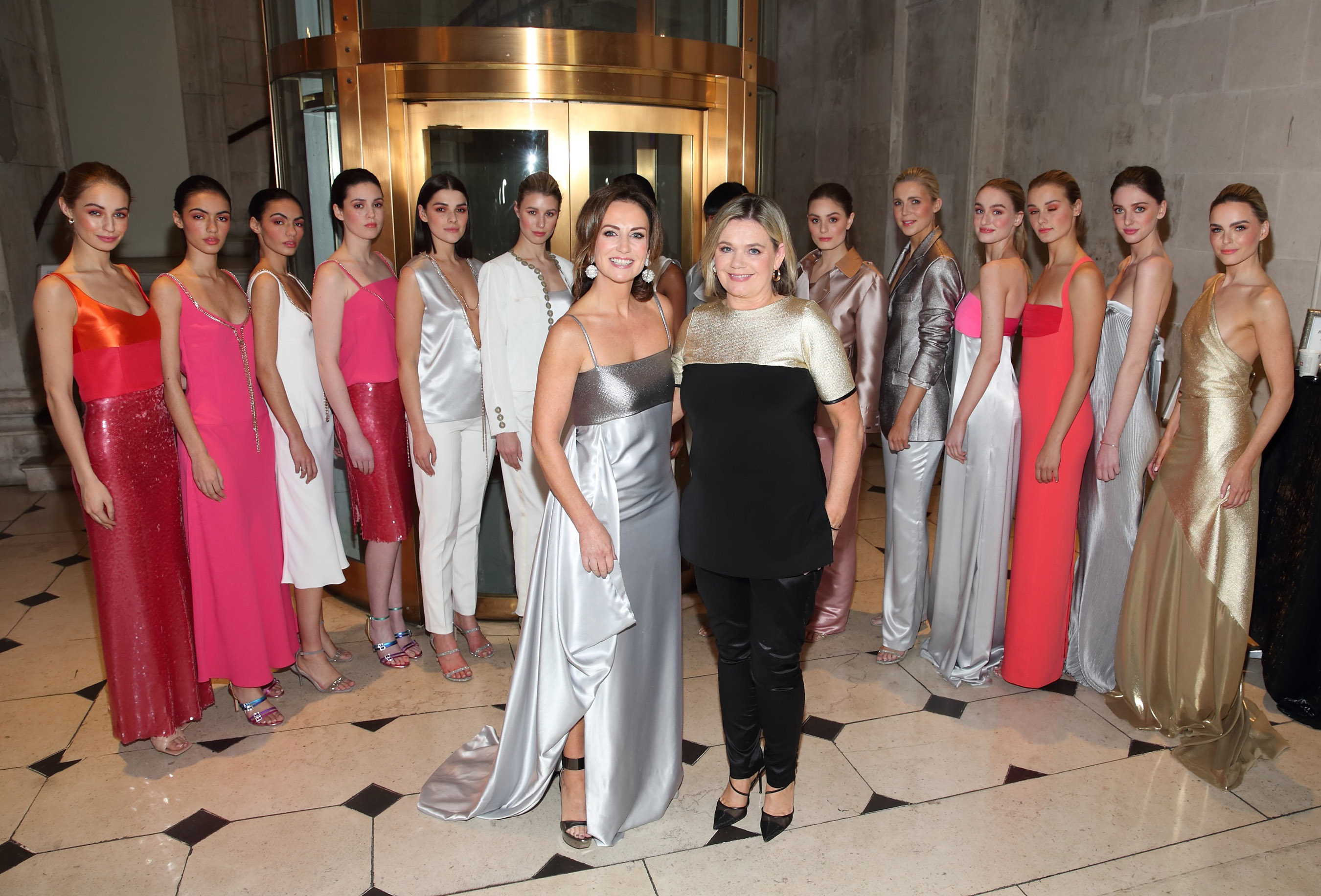 Lorraine Keane with Designer Deborah Veale and the models  at the Irish Fashion Collective show at City Hall,Dublin supporting Saint Joseph's Shankill and their vision to lead the way in dementia care in Ireland. Pic Brian McEvoy Photography No Repro Fee for one use