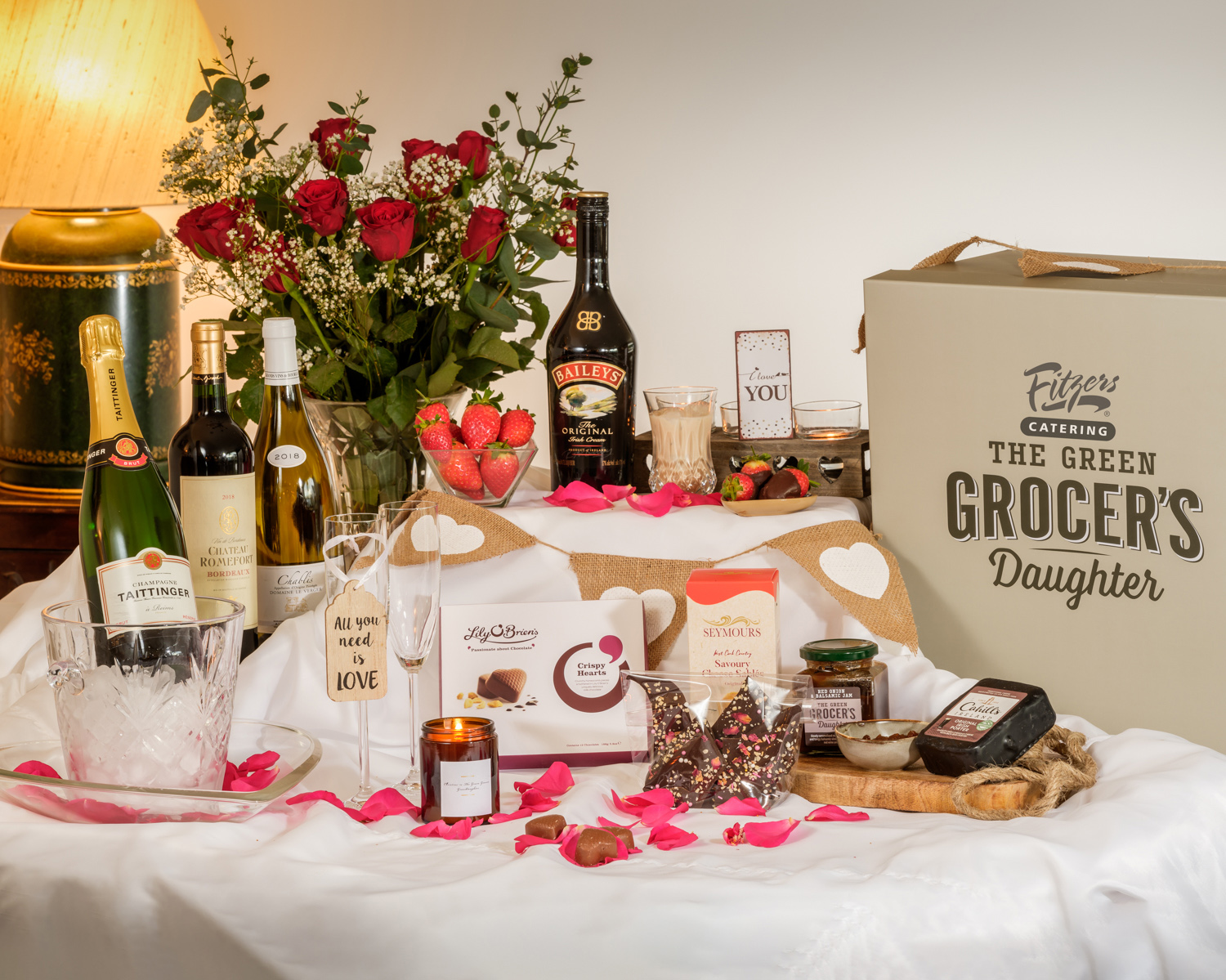Green Grocer's Daughter Love Is All You Need Luxury Valentine's Hamper €250.00  Available from www.greengrocersdaughter.com call 01-4663005  For further information please contact Mari O'Leary  016789888 / marioleary@olearypr.ie